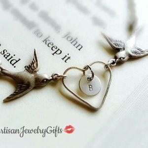 Sterling Silver Love Birds Heart Initial Bracelet